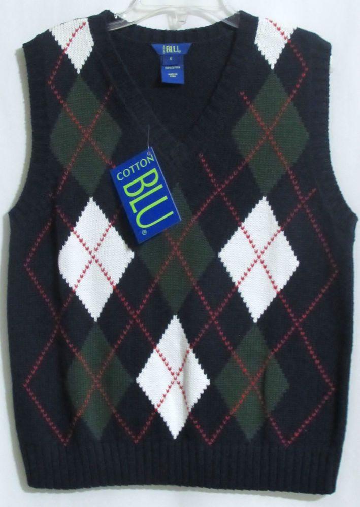 NEW Boys COTTON BLU Navy Blue Green & White 100% Cotton Argyle Sweater Vest 6  #CottonBlu #Vest #DressyEveryday
