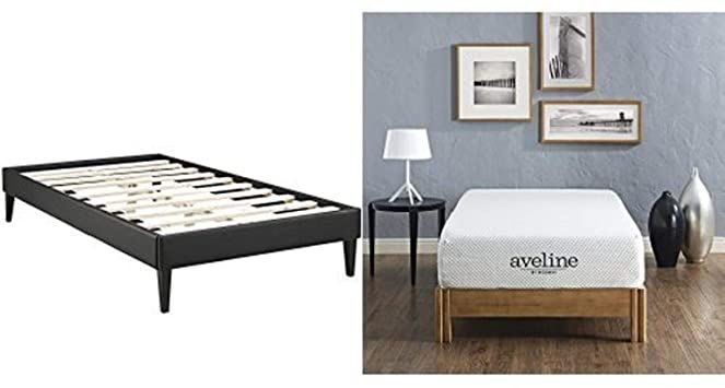 Modway Sharon Vinyl Bed Frame With Squared Tapered Legs Twin
