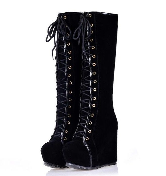 e1a955c82c4e Fashion Womens Goth Roman Super Platform Wedge Heels Lace Up Knee High Boots