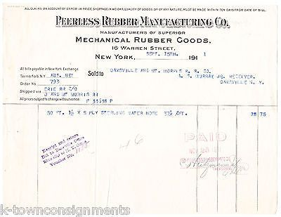 PEERLESS RUBBER MANUFACTURING MECHANICALS NY ANTIQUE ADVERTISING SALES RECEIPT