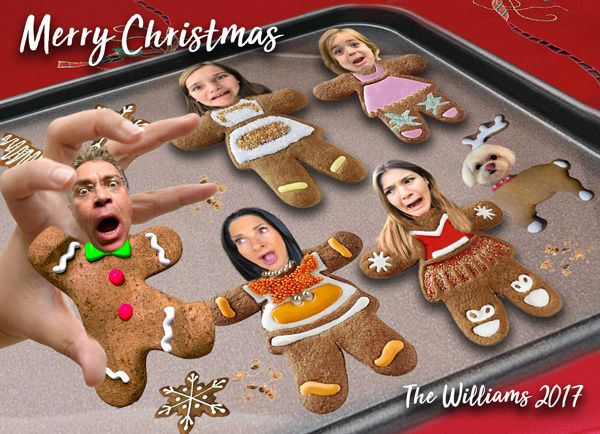 Scared Gingerbread men Christmas Card, Caricature Gingerbread cookies, Funny Family portrait Christmas card,Gingerbread Cookie Scare Holiday