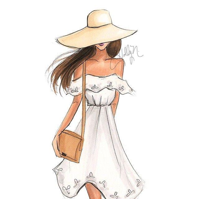 Girl of summer #fashionillustration #floppyhat #offtheshoulder…
