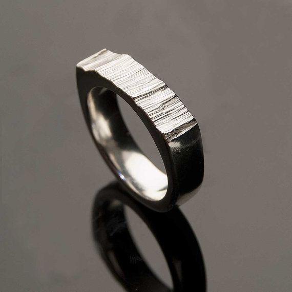 Wide Saw Cut Men's Wedding Ring, Textured Modern Wedding Band in Sterling Silver, Silver/palladium, Palladium or White Gold on Etsy, $159.99 CAD
