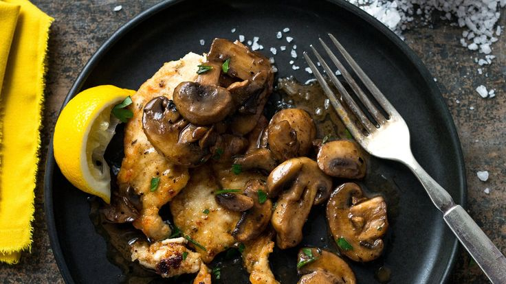 Mushrooms and white wine deglaze the pan to provide a delicious accompaniment to…