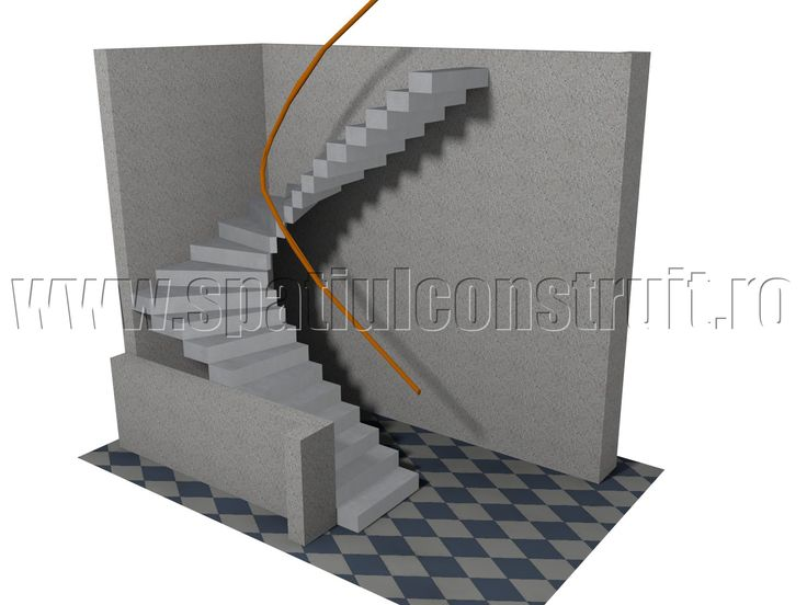 Staircases: general concepts & classifications/ Scari: notiuni generale, clasificari >> Winder staircase, with 2 platforms/ Scara balansata cu doua rampe