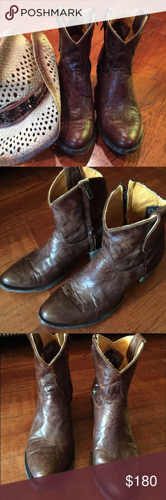 Old Gringos 7.5 Old Gringos Distressed Short Brown Boots with side zippers for easy fit Old Gringo Shoes Ankle Boots & Booties