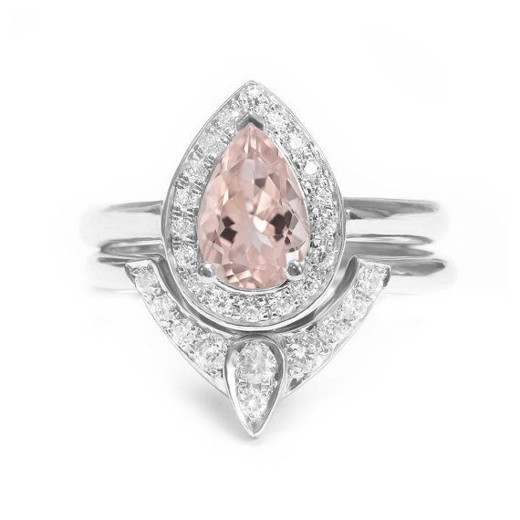 Pear Morganite Engagement Ring with Matching by SillyShinyDiamonds