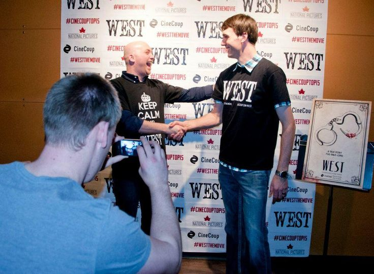 Twitter / Westthemovie: Director Eric Thiessen greets an excited fan