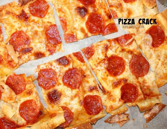 Ooo yeah! pizza crack using egg roll wrappers for crust - quick and easy!