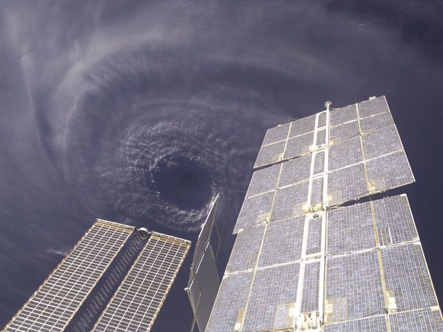 Above the Eye of Hurricane Ivan (Sept 15 2004) IMAGE CREDIT: Expedition 9 Crew, International Space Station, NASA Ninety percent of the houses on Grenada were damaged. Such is the destructive force of Hurricane Ivan, already one of the most powerful and destructive hurricanes on record. And the storm will likely make landfall in southern USA tomorrow. Ivan is the currently the third - and largest - hurricane set to strike the US this hurricane season.