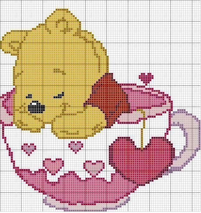 Grilles 79: des ours et des pandas !   Modèles de point de croix gratuits, Winnie l'ourson ...
