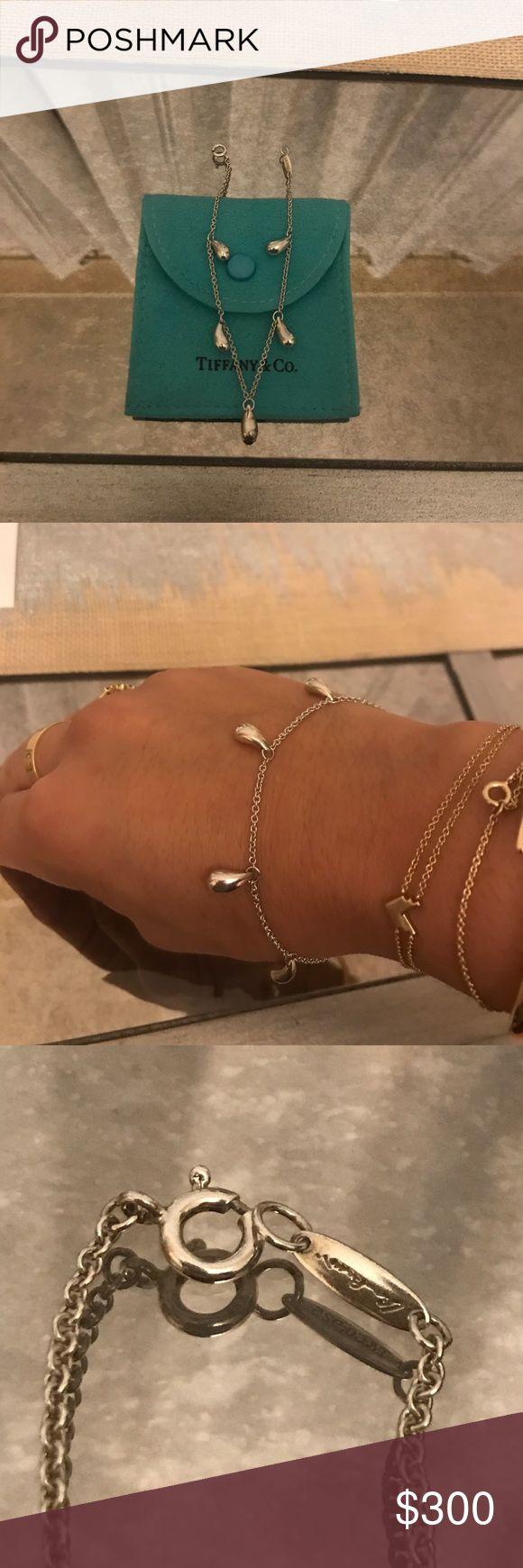 "Tiffany & Co. Elsa Peretti 5 Teardrop bracelet Tiffany & Co. Elsa Peretti 5 Teardrop bracelet Sterling Silver #925. Worn a few times. Great condition. Pouch included. Measures about 7.5"" Tiffany & Co. Jewelry Bracelets"