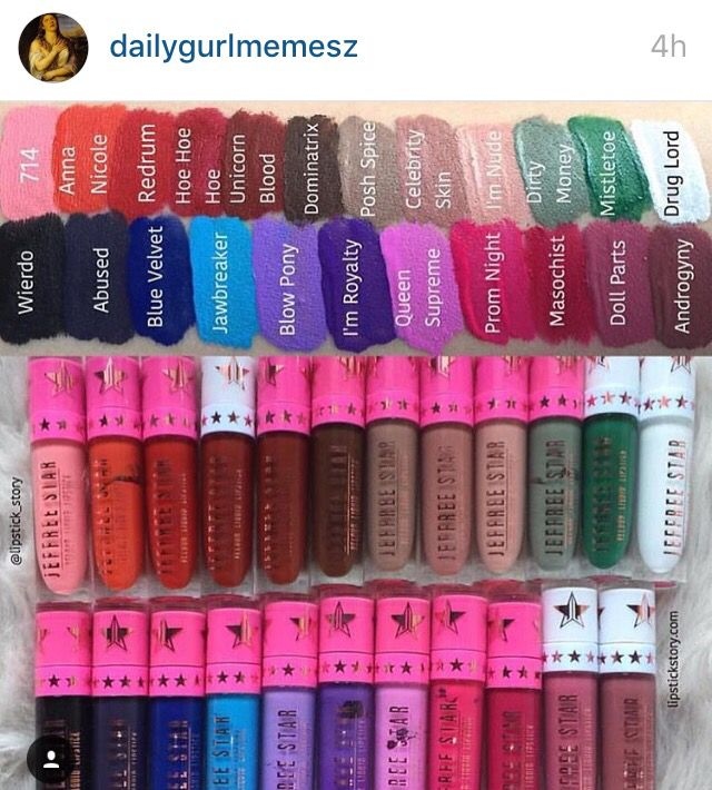 any colors from jeffree's liquid lip! even the crazy ones cx the ones i have are celebrity skin, doll parts, posh spice, im nude, jawbreaker, dirty money, scorpio, and gemini