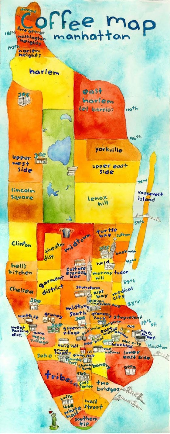 Map of Manhattan with stellar coffee shops marked. Next time I'm in the city I'm going on a coffee tour! Cute idea for any city!