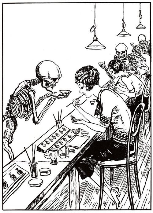 """1928 cartoon showing death hovering over """"Radium Girls"""" who died young from bone cancers after ingesting the radioactive element for years while painting watch dials. Mae Keane, the last of the radium girls, died on March 1, 2014 at the age of 107."""