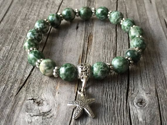 Half edelsteen armband armband met zeester Dames door KennlyDesign