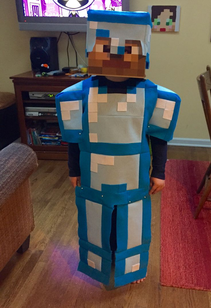 My son's Minecraft Diamond Armor Steve costume from Halloween.  Sewn from felt. I think it turned out wonderfully, and he loved it!