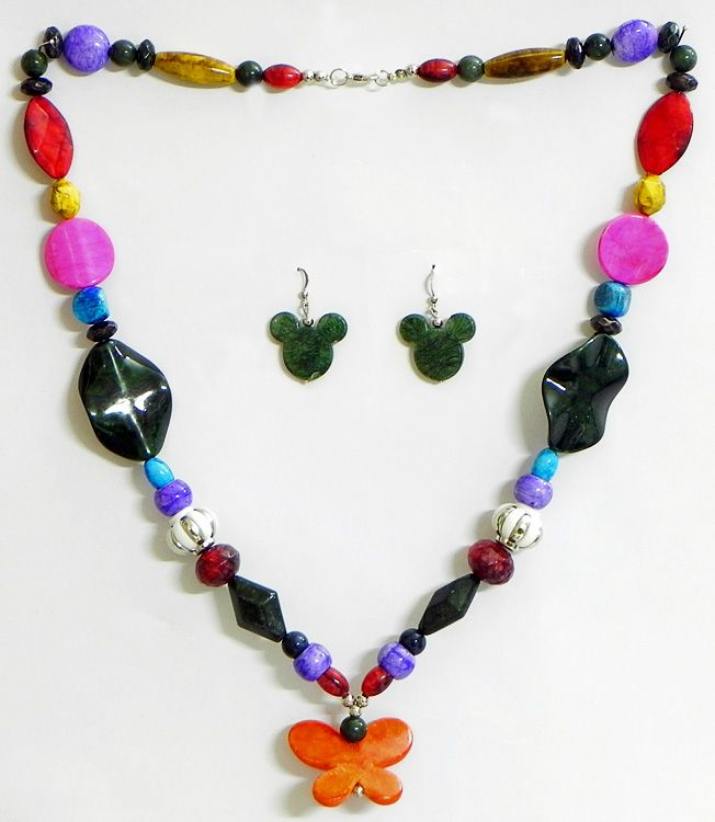 Multicolor Bead Necklace with Earrings (Acrylic Beads)