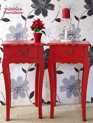 PAIR of RED SHABBY CHIC CABINETS BEDSIDE CABINETS END TABLES LAMP TABLE   eBay