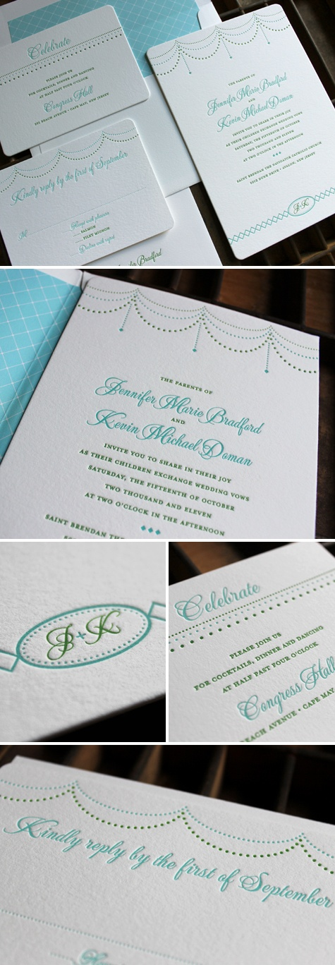 wedding invitations east london south africa%0A Letterpress wedding invitation in greens and blues  Sophie design from  Claremont Collection  the colors