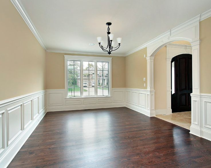 White Wainscot Dark Floors Molding And Trim Pinterest