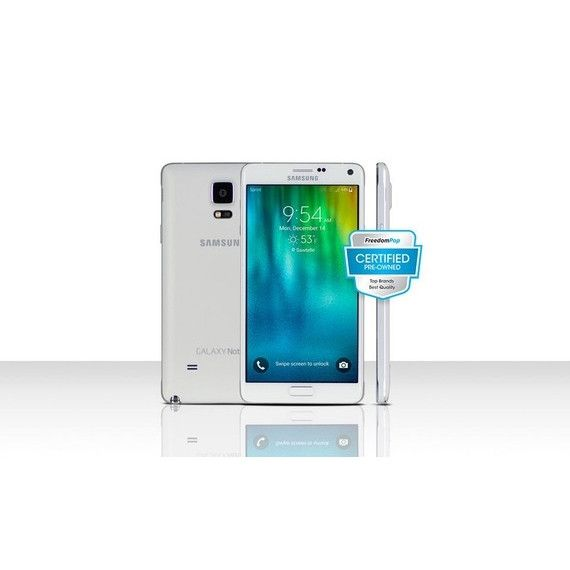 100% Free Mobile Phone Service w/ Samsung Galaxy Note 4 , White - FreedomPop