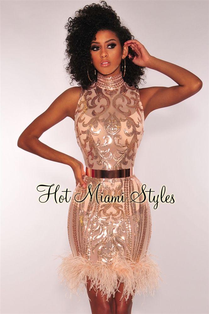 a657961b8a3 Blush Rose Gold Victorian Sequins Mesh Feather Hem Dress in 2019 ...