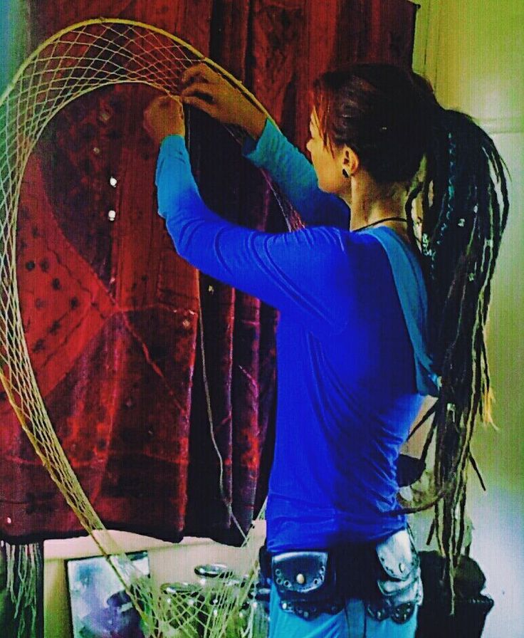 "Jackie of Hairy Fairy Dreadlock Creations, Lismore doing some ""Dream Weaving"". You can find Jackie in our Loctician Directory on our website."
