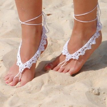 Crochet Barefoot Sandal - White (search crochet barefoot sandal and you'll get a ton more choices)