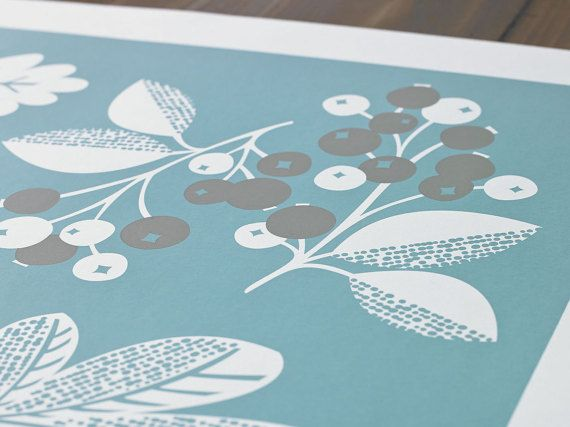Autumn is one of the first designs in the new collection of seasonal inspired, hand pulled, screen printed wall art from Bobbie Print.  This print