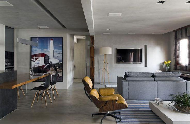 Idealizado para um jovem casal, este loft contemporâneo no bairro do Morumbi, em São Paulo, ganhou nova aparência graças ao cimento queimado no tom cinza, revestimento (Bricolagem Brasil) escolhido…