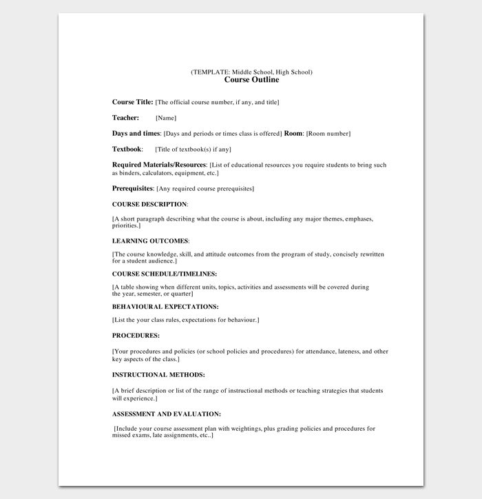 course outline template for middle and high school
