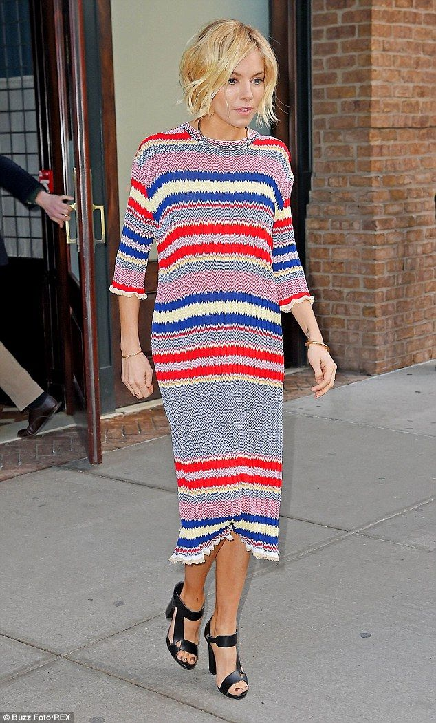 Living life in colour: Sienna Miller was sure to turn heads as she made her way through New York on Tuesday evening