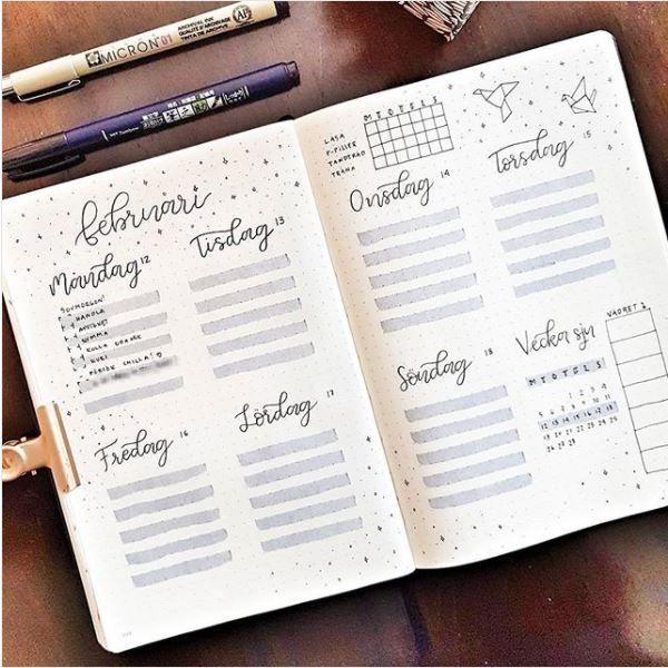 10 Bullet Journal wöchentliches Layout zum Ausprobieren – #Bullet #Journal #Layout #Woche