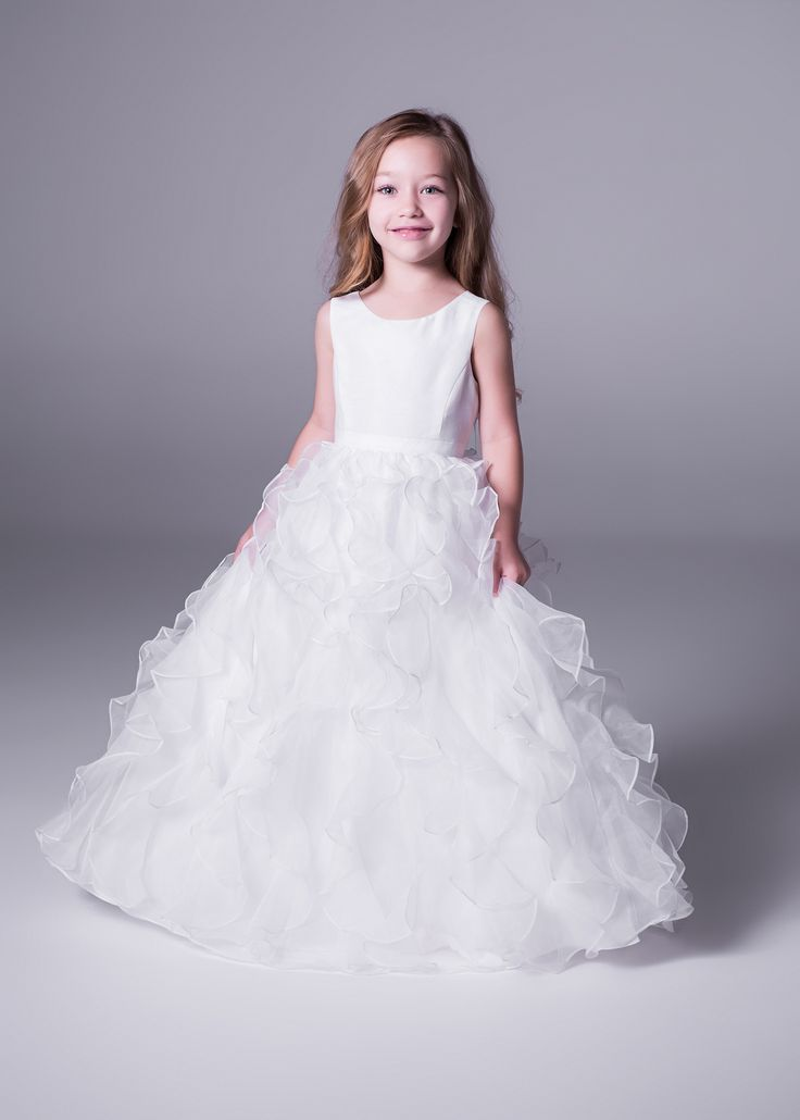 Fit for a (little) Princess! This absolutely adorable floor length ruffled #flowergirl dress with organza skirt is only at Bride&co stores (style H1281). Click to view more or Book a Free Fitting! #wedding