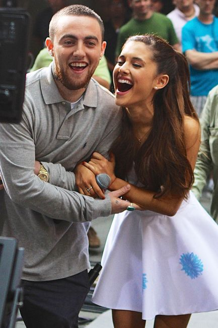 Singer Arianna Grande and rapper Mac Miller play around after performing on the Today Show on September 3rd. For the release of her debut album, Mac and Arianna had a tickle fight, how cute!
