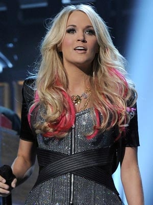 Carrie Underwood, blonde with pink highlights