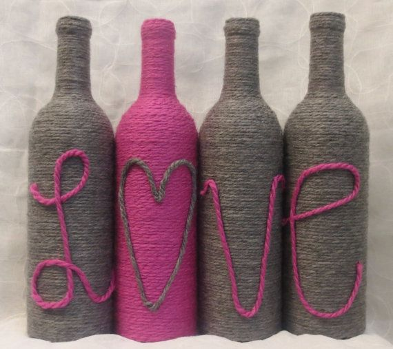 Yarn Wrapped Bottles Love Valentine's Day Decor by OrangeCreek