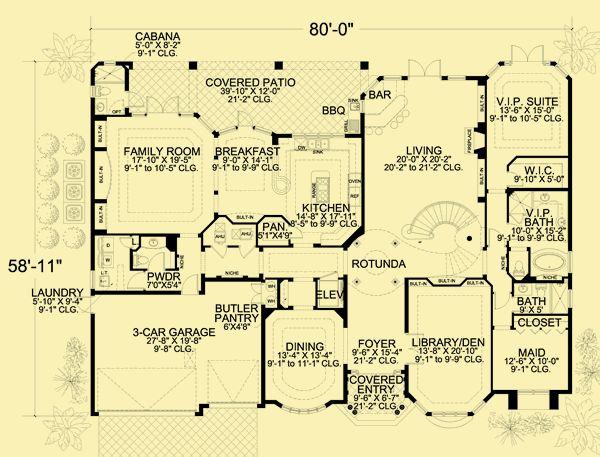architectural house plans floor plan details coastal manor - Patio Style Dream Home Plans