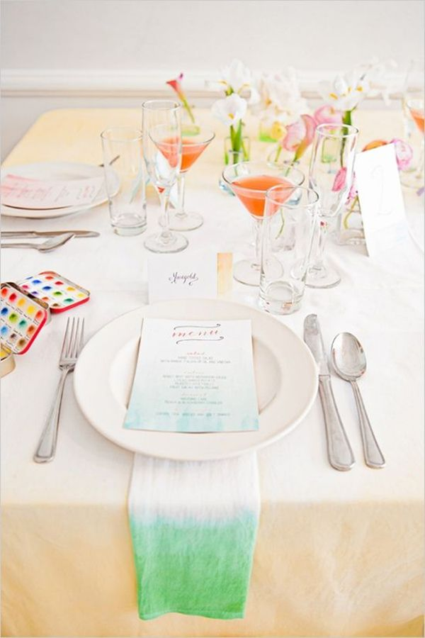 green ombre water watercolor wedding tablescape ideas