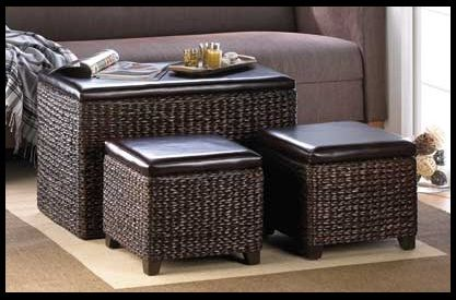 A coffee table, side table, ottoman extra seating, storage -- this set is all of those things at once! Dark brown woven wicker with padded tops, the large trunk and two matching ottomans are perfect for resting your legs after a long day, as additional seating, and for storing or stashing clutter when entertaining guests. www.mysouthernhomeplace.com