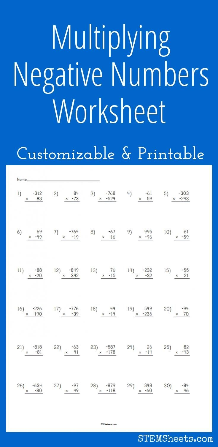 Multiplying Negative Numbers Worksheet - Customizable and Printable