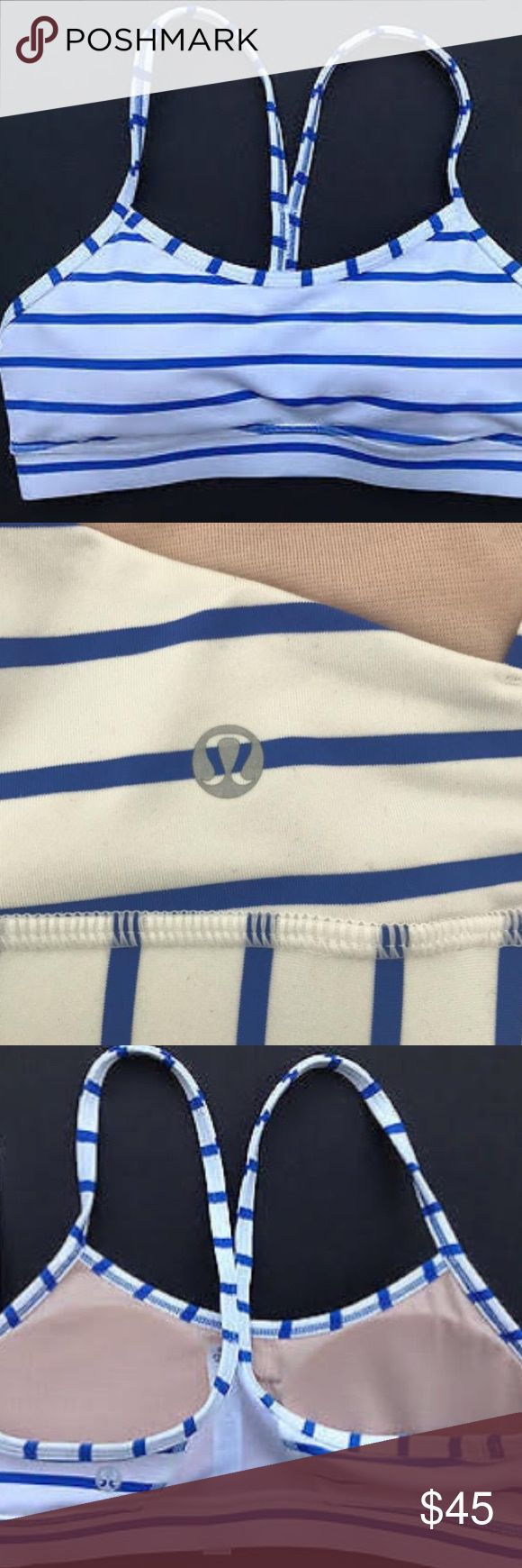 LULULEMON SPORTS BRA Sports bra. Lululemon! Blue and white stripes. Size 4. Fits like a small. In great shape, only worn a couple times. lululemon athletica Intimates & Sleepwear Bras