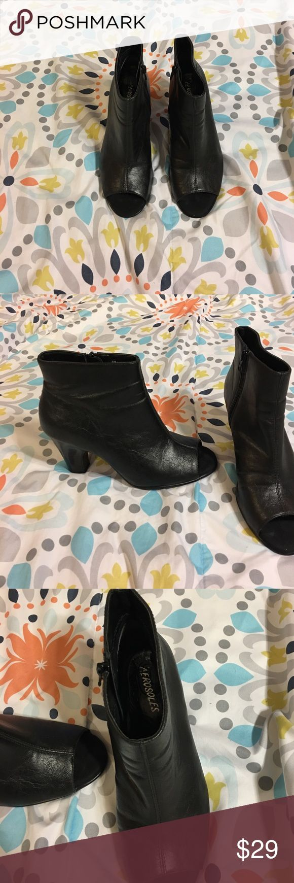 """Aerosoles black peep toe ankle boots Women's size 8m Aerosoles Disco booties, peep toe style. 3 1/2"""" heel, rubber sole to prevent slipping, no rubber tip on heel. In great condition with no scuffs or damage, some minimal wrinkling around ankle area and toe box where foot bends while walking. Comes from a smoke and pet free home. Shoe has a pedi perfect clear gel liner in it that was wiped down with Clorox wipes to clean. AEROSOLES Shoes Ankle Boots & Booties"""