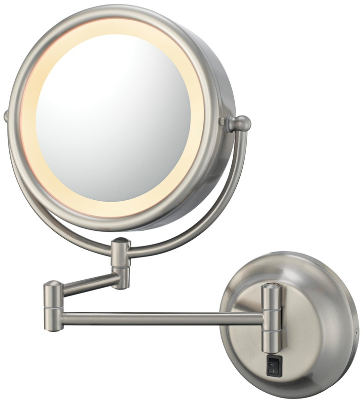 Brushed nickel hardwired lighted vanity wall mirror Bathroom wall mirrors brushed nickel