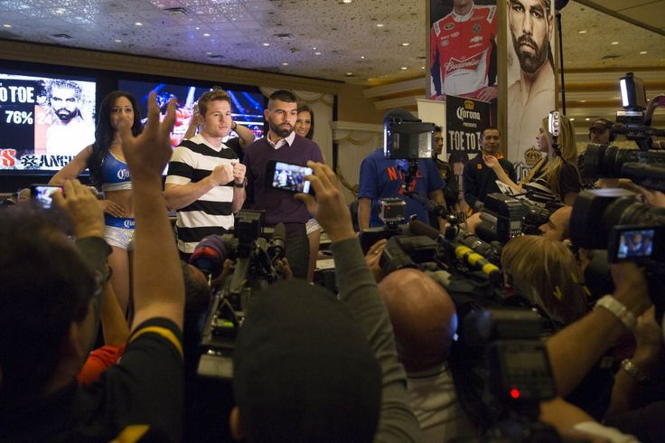 LAS VEGAS, NV -  Photo credit: Esther Lin/Showtime    TODAY! Watch Canelo Alvarez, Alfredo Angulo and the rest of the main card fighters for this weekend's 'Toe to Toe' battle weigh-in. The weigh-in starts at 3PM and can be watched right here LIVE.