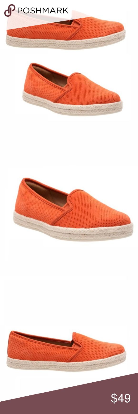 Clarks Azella Theoni Orange Espadrille Slip on Clarks Azella Theoni Espadrille Orange Cow Suede Size 7 The Azella Theoni is a classic espadrille women's slip-on from the Clarks® Collection. Features a chic orange suede with perforated detailing, a woven trim, convenient stretch gore panels, a soft textile lining, a removable Clarks Cushion Soft™ with OrthoLite® footbed, and a rubber outsole. This women's casual loafer delivers a fresh take on timeless summer style.  Upper Material	Suede Sole…