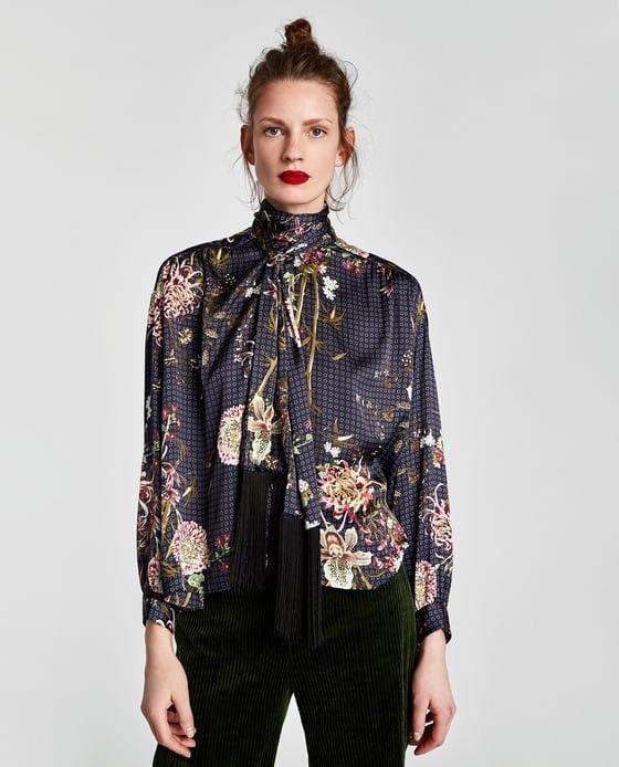9d0753500 79.00 | Zara Woman Floral Blouse With Fringe And Bow Size M NWT ❤ #zara  #woman #floral #blouse #with #fringe #size #burton #Mezclilla #Shorts  #Primaverales ...