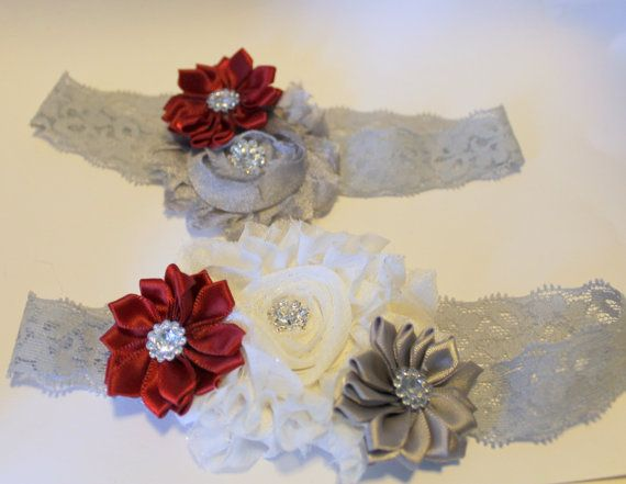Red and Gray Wedding/ Wedding Garter/ Gray Lace by thebuckeyelady, $22.00