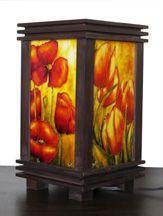 Faux vitrail Lampe coquelicot et tulipes